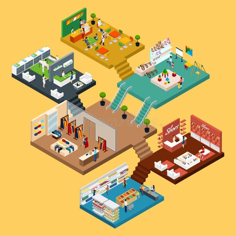 Concetto isometrico del centro commerciale illustrazione vettoriale