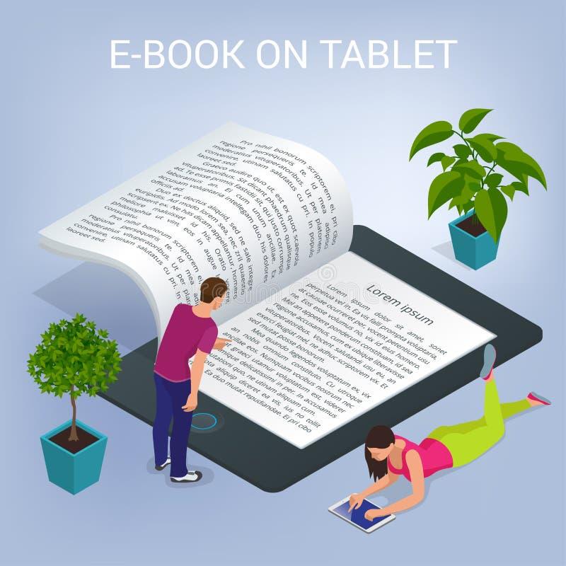 Concetto isometrico del libro elettronico Aula del computer dell'università Istruzione online e biblioteca con gli studenti Vetto illustrazione vettoriale