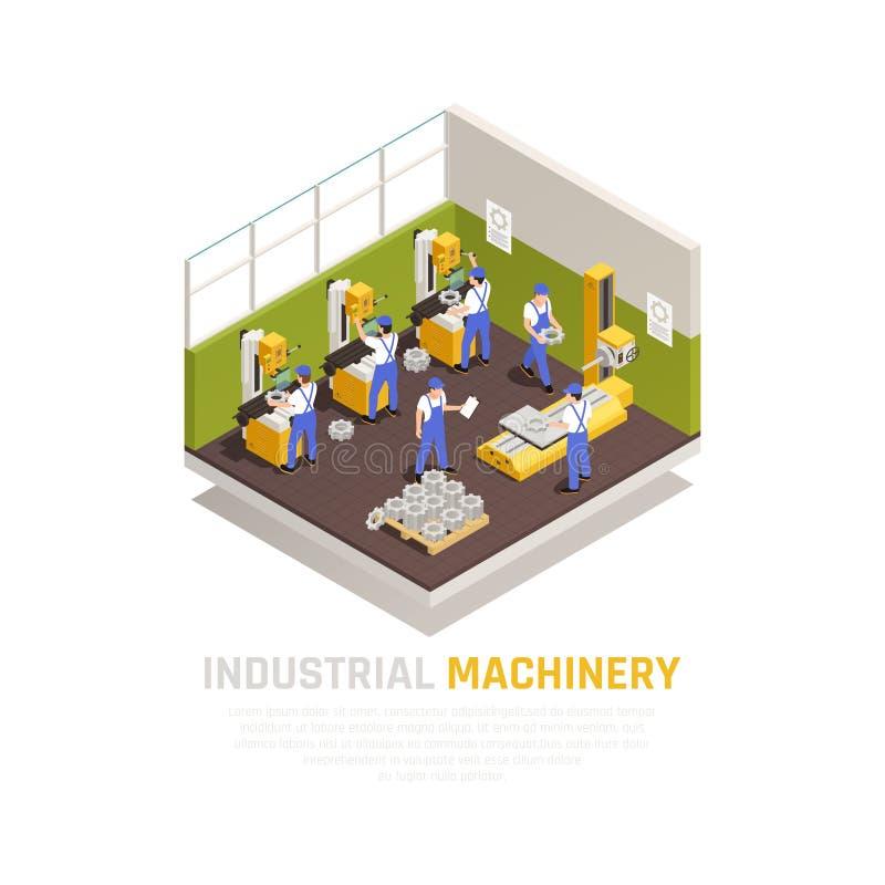 Concetto isometrico del macchinario industriale illustrazione vettoriale
