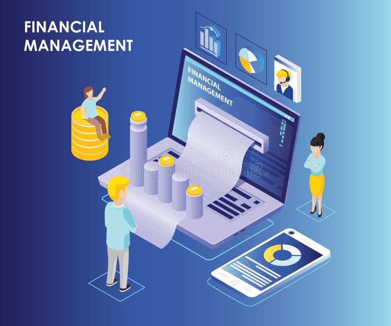 Concetto isometrico del materiale illustrativo di gestione finanziaria online sul computer portatile illustrazione di stock