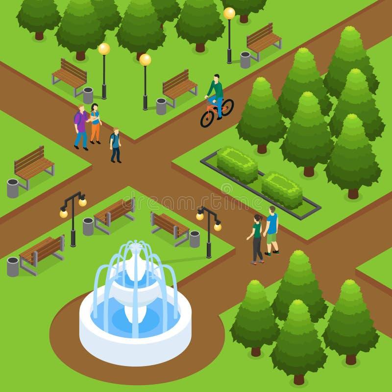 Concetto isometrico del parco di estate royalty illustrazione gratis