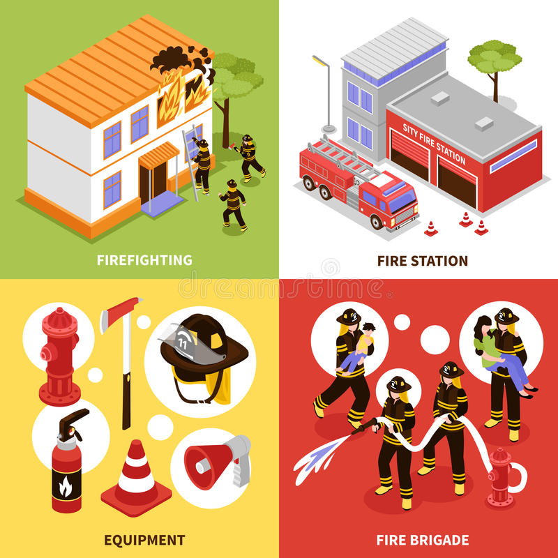 Concetto isometrico del pompiere 2x2 illustrazione di stock