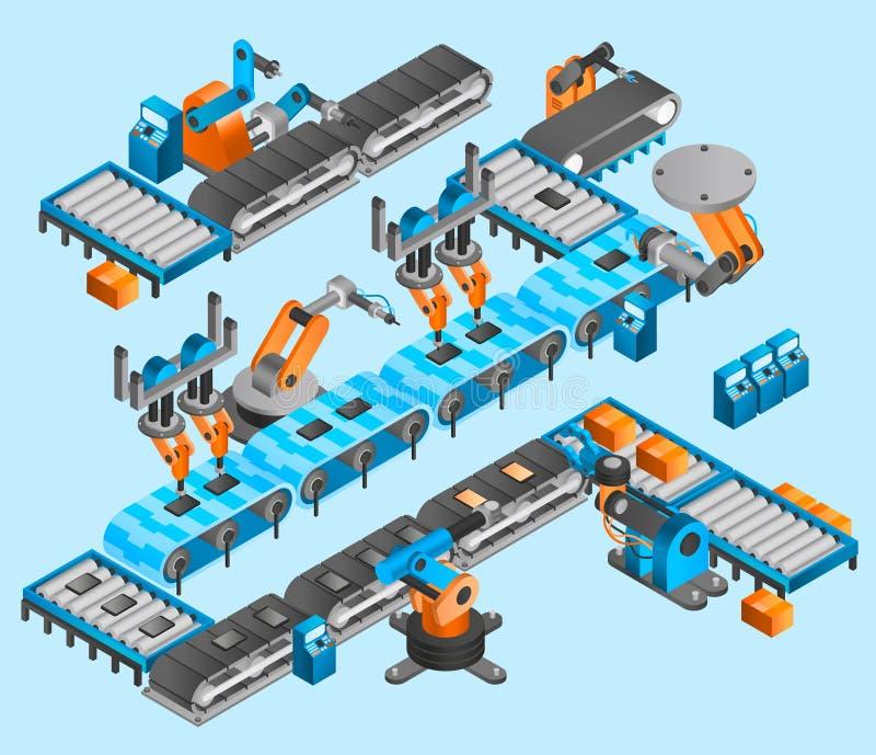 Concetto isometrico del robot industriale royalty illustrazione gratis