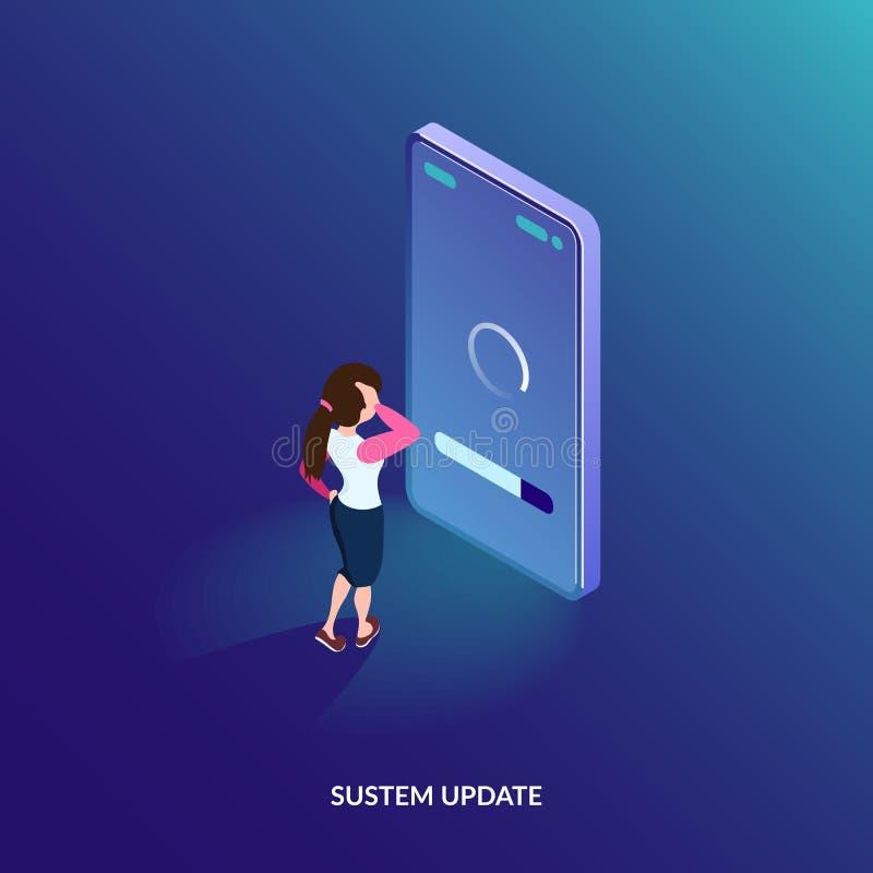 Concetto isometrico dell'aggiornamento del sistema Aggiornamento di software sul telefono cellulare La ragazza controlla il proce illustrazione di stock