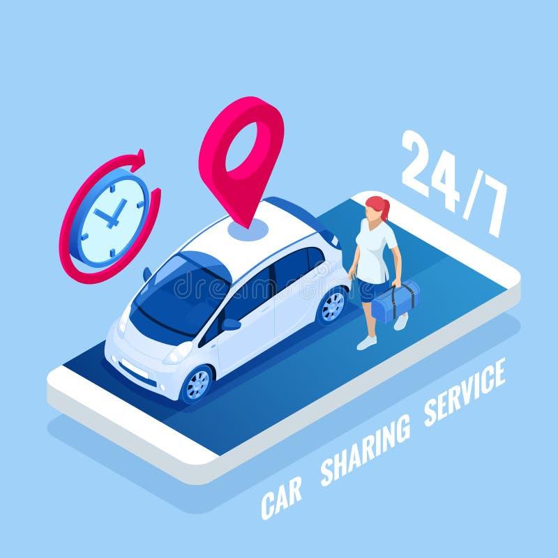 Concetto isometrico dell'autonoleggio Vendita, leasing o affittare servizio dell'automobile Noleggio di veicolo ed acquisto Auto  illustrazione vettoriale
