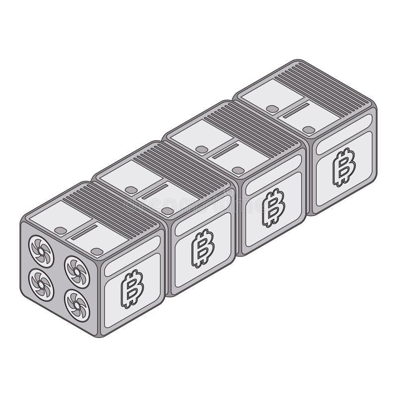 Concetto isometrico dell'azienda agricola di estrazione mineraria di cryptocurrency Creazione del bitcoi royalty illustrazione gratis