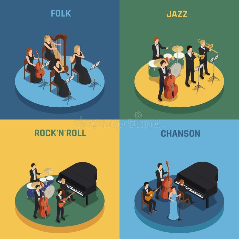 Concetto isometrico 2x2 dell'orchestra royalty illustrazione gratis