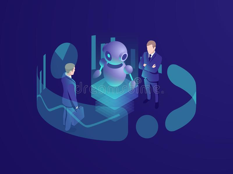 Concetto isometrico dell'uomo che pensa, sistema del crm, robot ai, agenzia consultantesi di affari di intelligenza artificiale,  royalty illustrazione gratis
