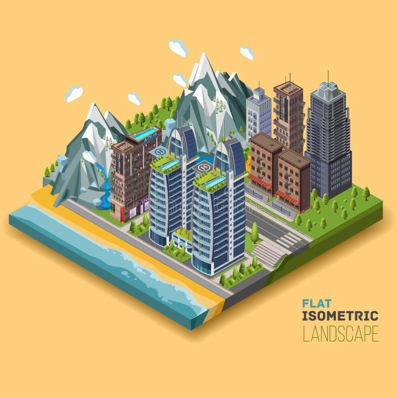 Concetto isometrico della città illustrazione vettoriale