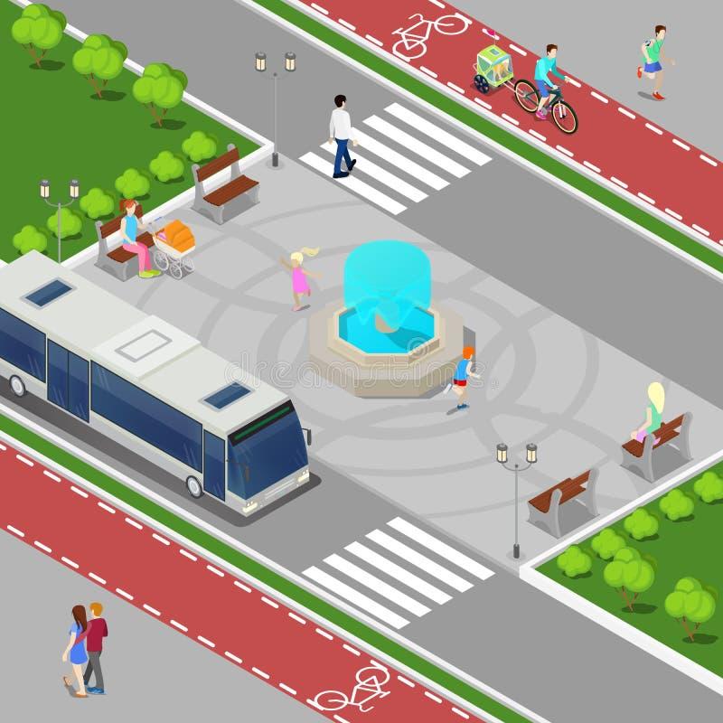 Concetto isometrico della città moderna Fontana della città con i bambini Pista ciclabile con la gente di guida royalty illustrazione gratis