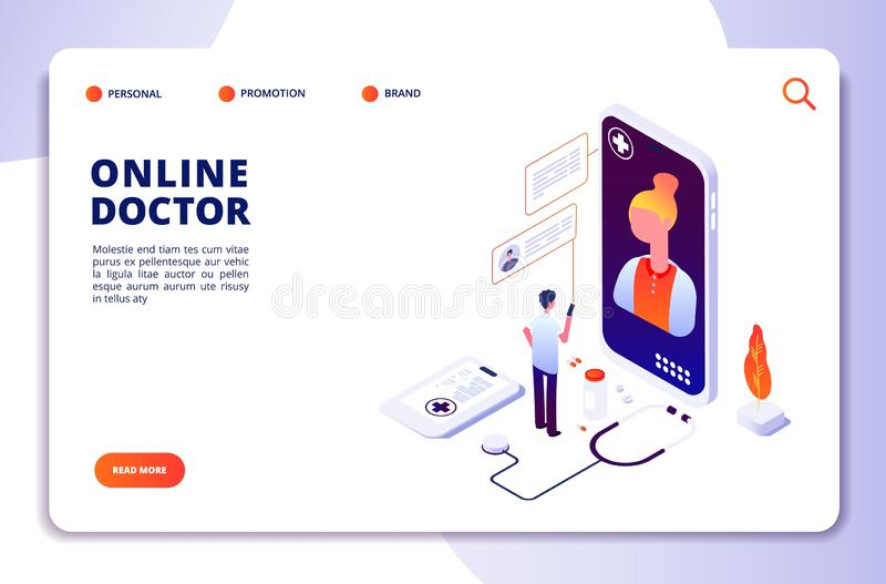 Concetto isometrico della farmacia online di sanità Farmacia di Internet Diagnosi medica in ospedale Vettore online di medico royalty illustrazione gratis