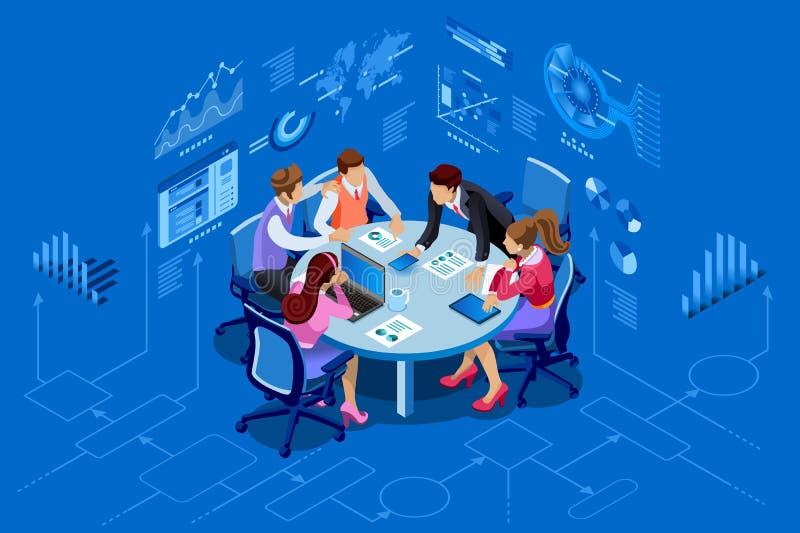 Concetto isometrico della gestione del gruppo della gente illustrazione di stock