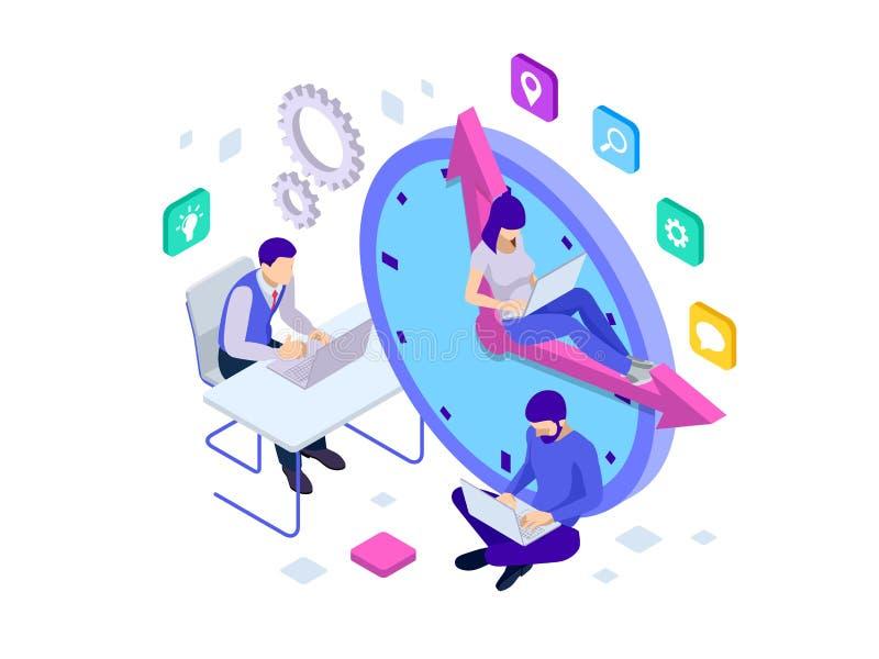 Concetto isometrico della gestione di tempo effettivo La gente di affari di piani ed organizza l'orario di lavoro, termini di aff illustrazione vettoriale