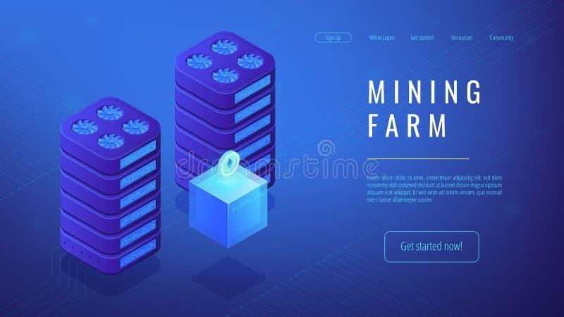 Concetto isometrico della pagina di atterraggio dell'azienda agricola di estrazione mineraria illustrazione vettoriale