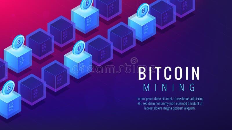 Concetto isometrico della pagina di atterraggio dell'azienda agricola di estrazione mineraria del bitcoin illustrazione vettoriale