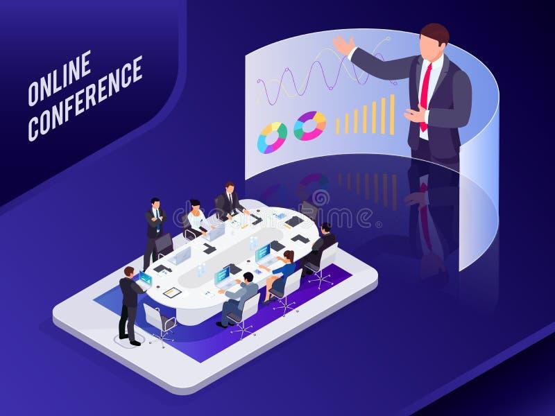 Concetto isometrico di affari Conferenza online illustrazione vettoriale