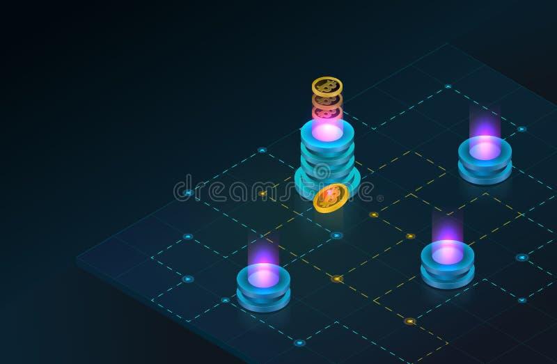Concetto isometrico di Blockchain e di Cryptocurrency Azienda agricola per i bitcoins estraenti illustrazione di stock