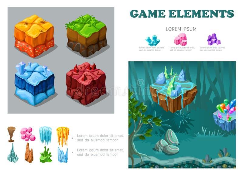 Concetto isometrico di Infographic del paesaggio del gioco royalty illustrazione gratis
