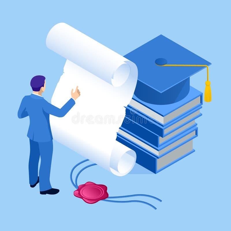Concetto isometrico di istruzione, della graduazione, della tecnologia e dell'e-learning Graduazione, bordo del mortaio, diploma royalty illustrazione gratis