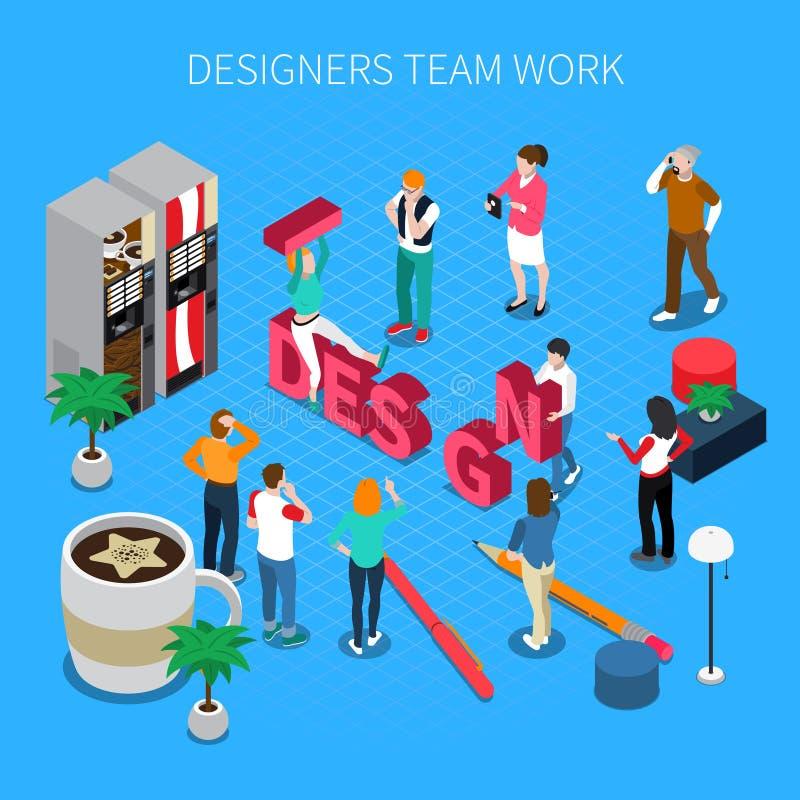 Concetto isometrico di lavoro di squadra dei progettisti royalty illustrazione gratis