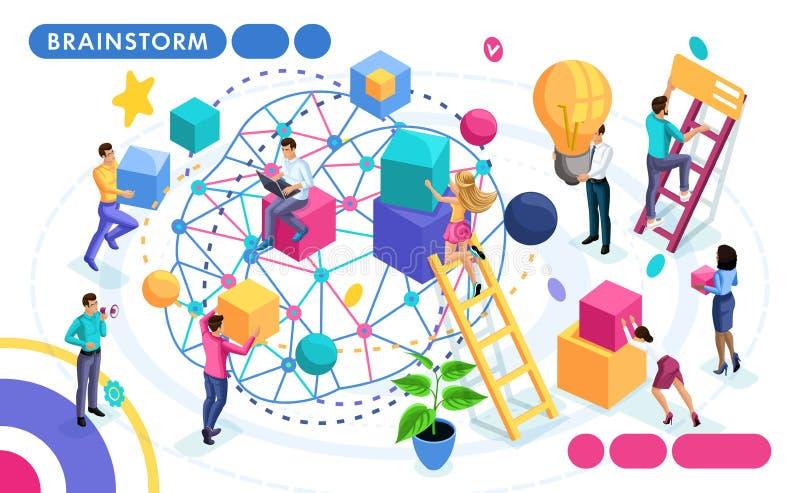 Concetto isometrico di lavoro di squadra, discussione sulle idee, confrontante le idee La gente nei concetti di moto per le inseg illustrazione vettoriale