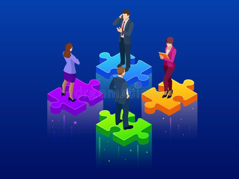 Concetto isometrico di lavoro di squadra e di collaborazione Carta da parati semplice di puzzle di 4 pezzi Illustrazione di vetto illustrazione di stock