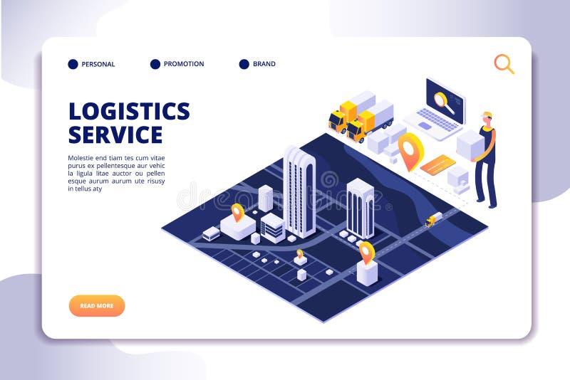 Concetto isometrico di logistica e di distribuzione Assistenza assicurativa sorseggiante globale Vettore di affari del commercio  illustrazione vettoriale