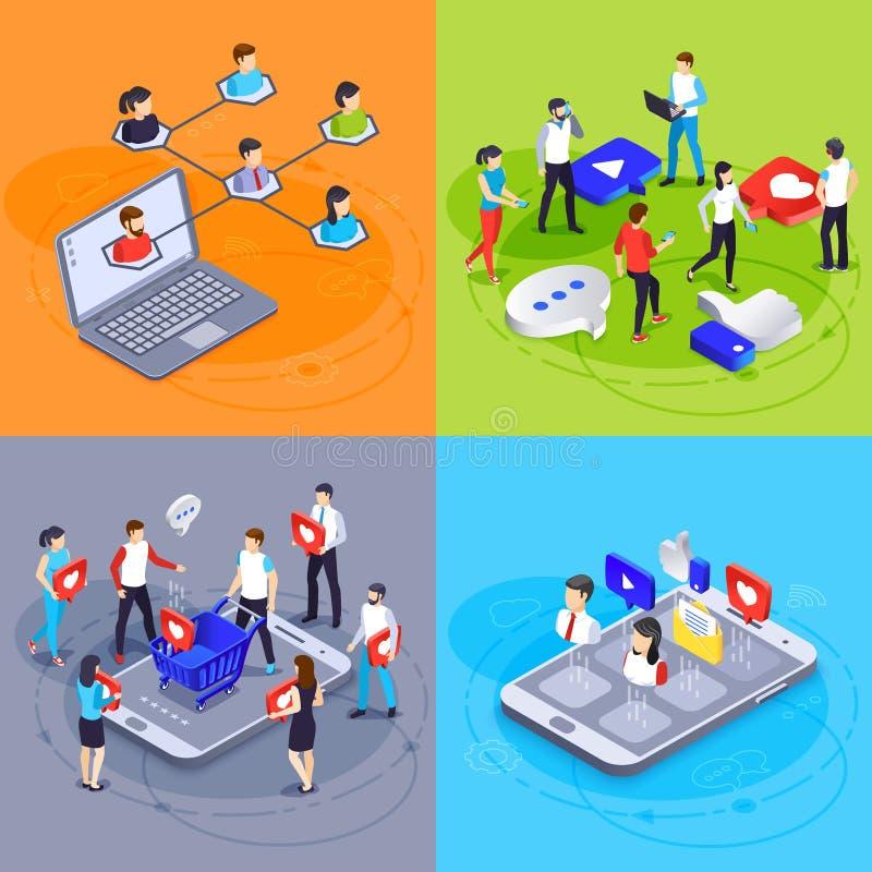 Concetto isometrico di media sociali Vendita di Digital ed agenzia di pubblicità on line Hashtag degli annunci, simili e vettore  illustrazione vettoriale