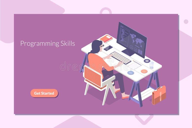 Concetto isometrico di progettazione piana moderna di programmazione e di codifica delle abilità per l'insegna ed il sito Web Ill illustrazione di stock