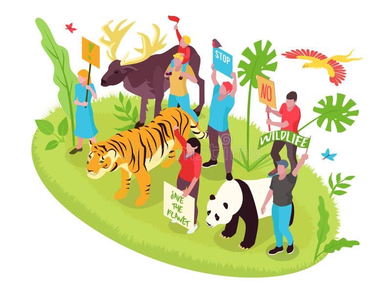 Concetto isometrico di protezione della fauna selvatica illustrazione vettoriale