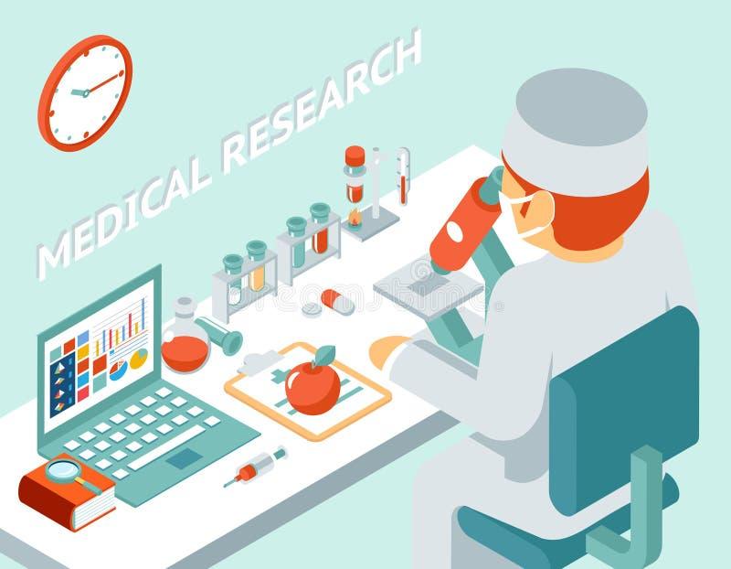 Concetto isometrico di ricerca medica 3d royalty illustrazione gratis