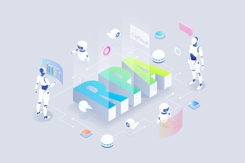 Concetto isometrico di RPA, di intelligenza artificiale, di automazione di processi di robotica, di ai nel fintech o di trasforma illustrazione di stock