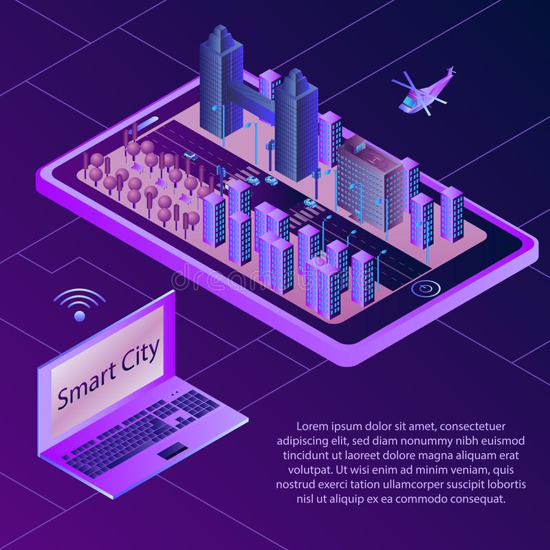 Concetto isometrico di Smart City Dispositivi collegati senza fili Illustrazione isometrica illustrazione vettoriale