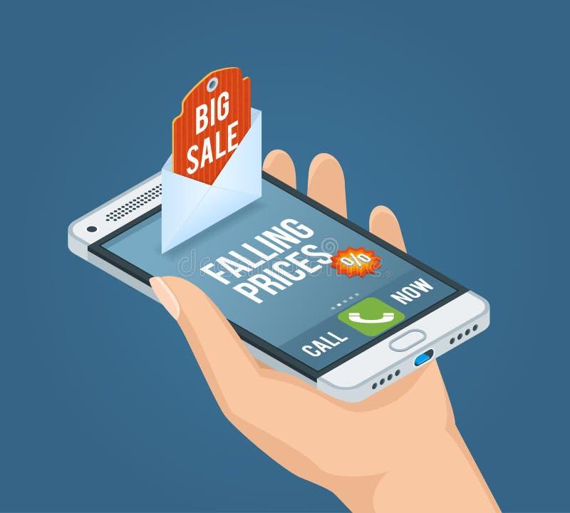 Concetto isometrico di vendita mobile illustrazione vettoriale