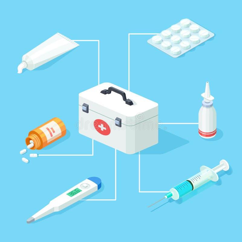 Concetto isometrico di vettore degli strumenti della cassetta di pronto soccorso illustrazione di stock