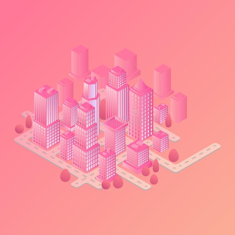Concetto isometrico di vettore della costruzione intelligente o della città astuta Illustrazione futuristica isometrica di vettor royalty illustrazione gratis