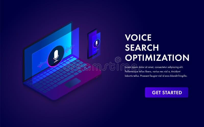 Concetto isometrico di web di ottimizzazione di ricerca di voce, ricerca tramite l'illustrazione dell'insegna di vettore di tecno royalty illustrazione gratis