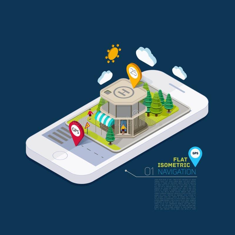 Concetto isometrico infographic 3d della via piana del paesaggio sul telefono illustrazione di stock