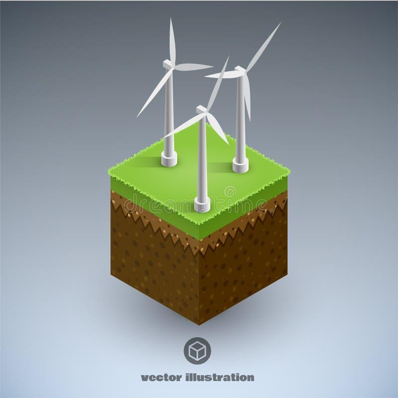 Concetto isometrico minimo ENV 10 del cubik di Eco illustrazione di stock