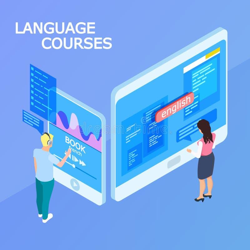 Concetto isometrico online di vettore 3d di corsi di lingue royalty illustrazione gratis