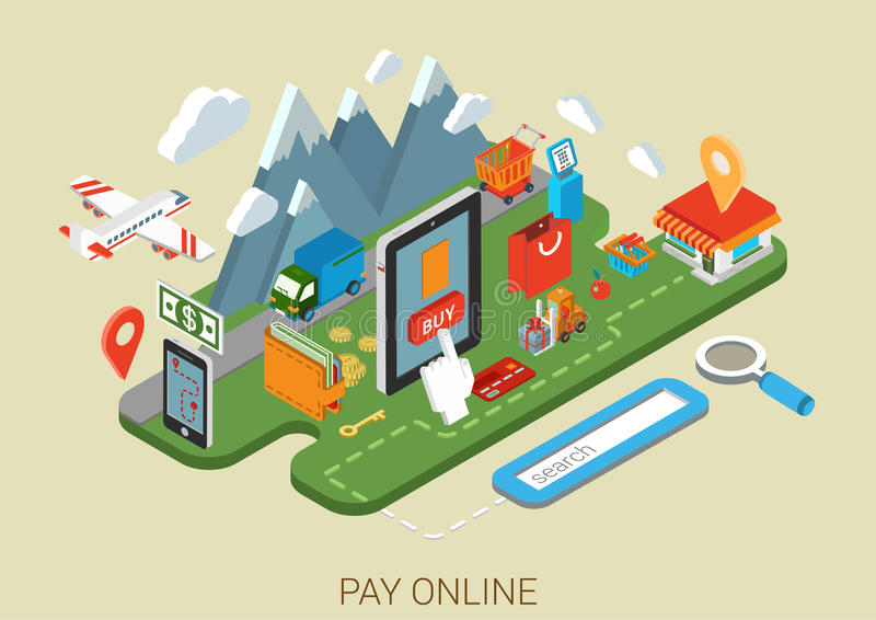 Concetto isometrico online piano di processo 3d di Internet di acquisto illustrazione di stock