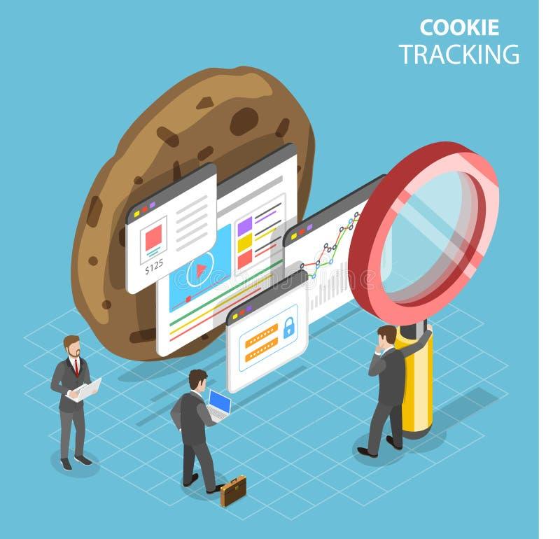 Concetto isometrico piano d'inseguimento di vettore del biscotto di web illustrazione di stock