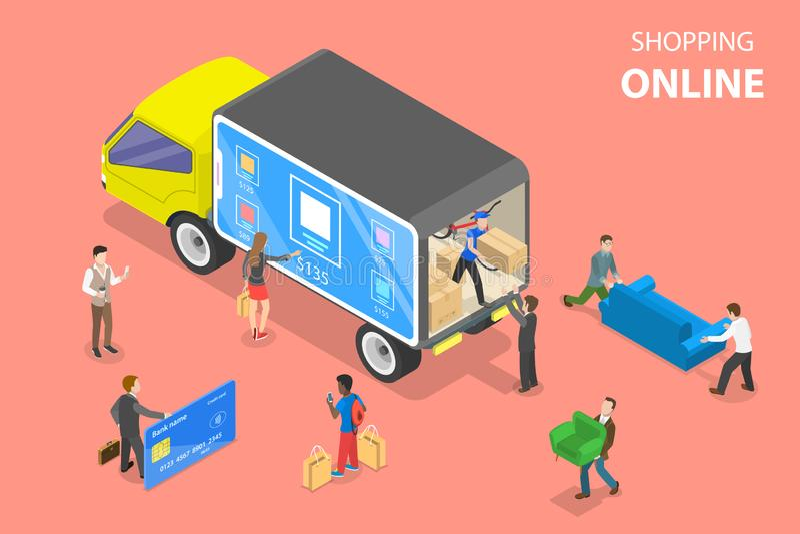 Concetto isometrico piano di vettore di acquisto facile, commercio elettronico, deposito online royalty illustrazione gratis