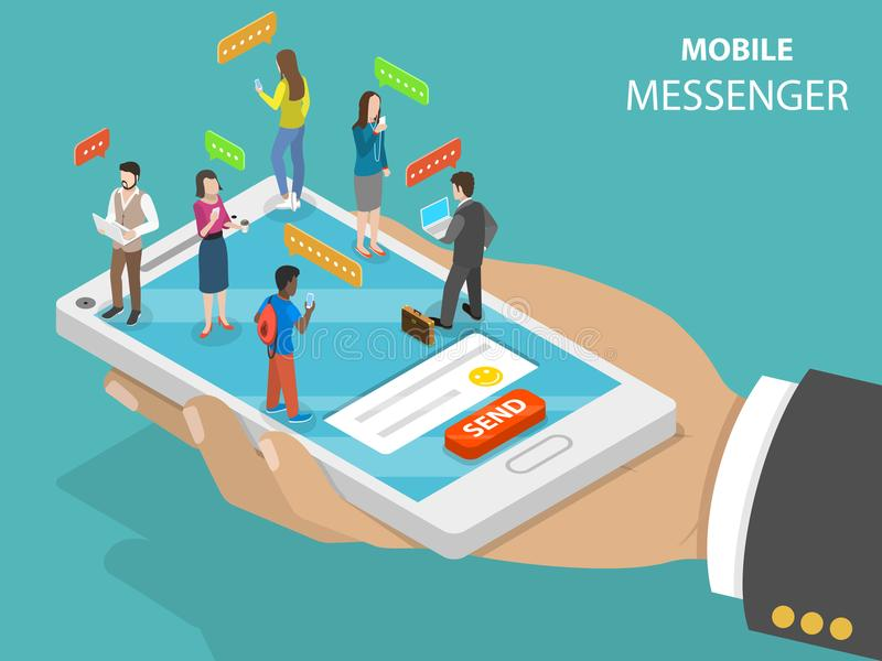 Concetto isometrico piano di vettore del messaggero mobile illustrazione vettoriale