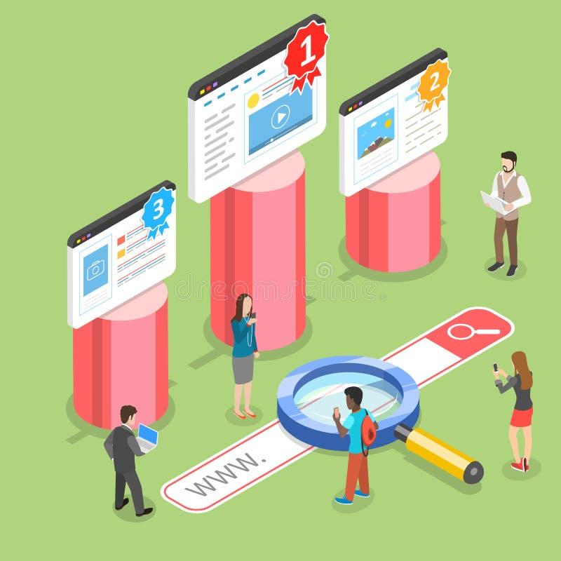 Concetto isometrico piano di vettore del posto di seo, vendita di ottimizzazione del sito Web illustrazione vettoriale