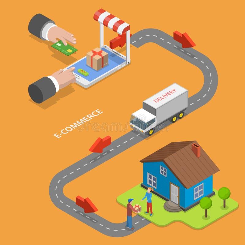 Concetto isometrico piano di vettore di commercio for Aprire piani casa concetto