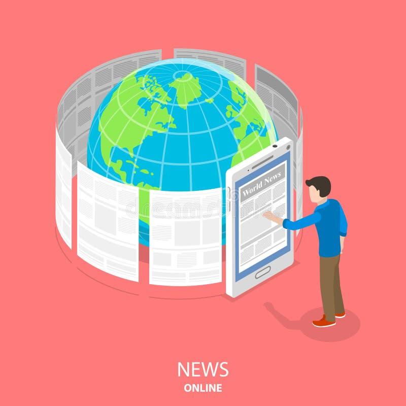 Concetto isometrico piano di vettore di notizie online illustrazione di stock