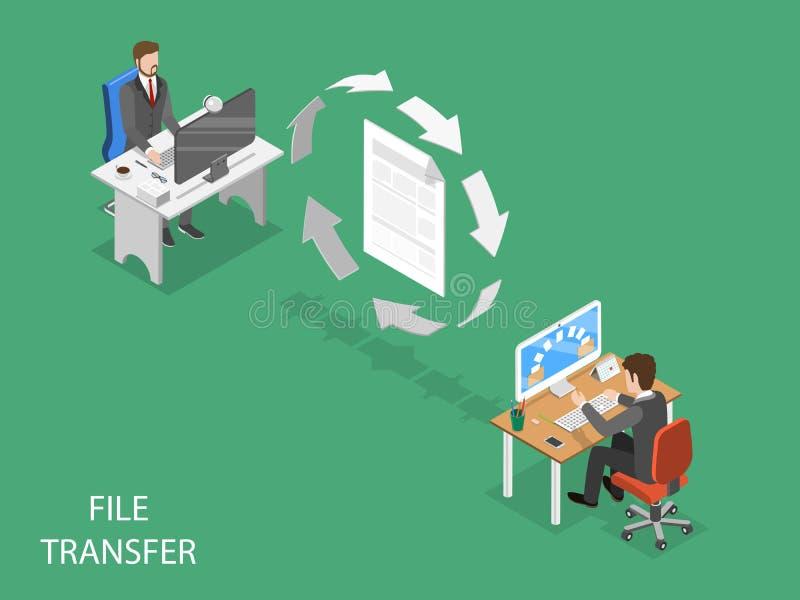 Concetto isometrico piano di vettore di trasferimento di file illustrazione vettoriale