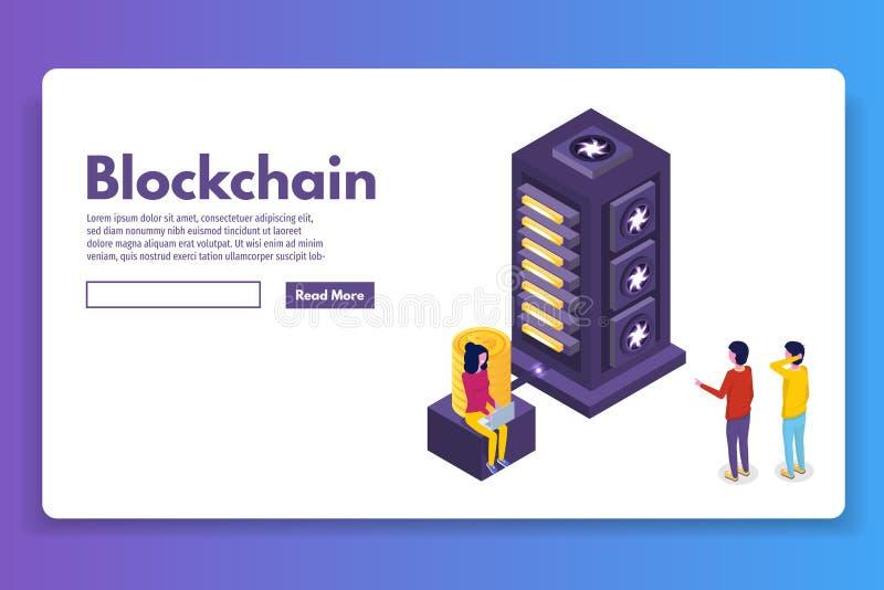 Concetto isometrico ultravioletto dell'azienda agricola di Bitcoin di estrazione mineraria illustrazione di stock