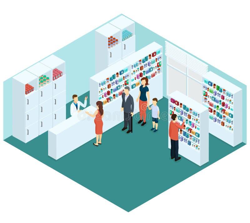 Concetto isometrico variopinto della farmacia illustrazione di stock